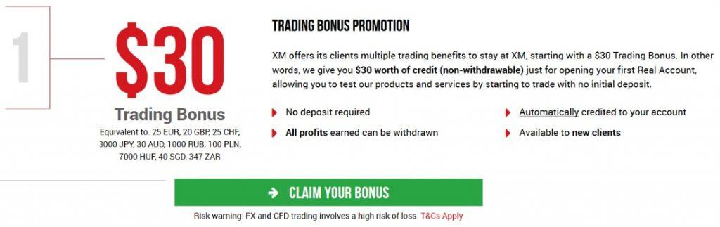 XM Forex offering a no-deposit bonus