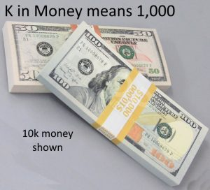 10k money stack shown